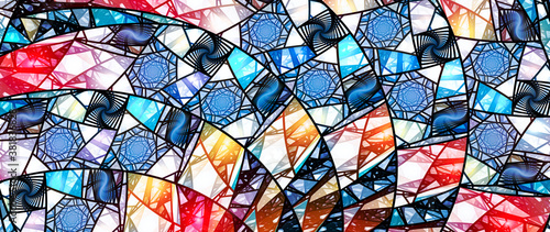 Fotografía Colorful stained-glass ultrawide screen background