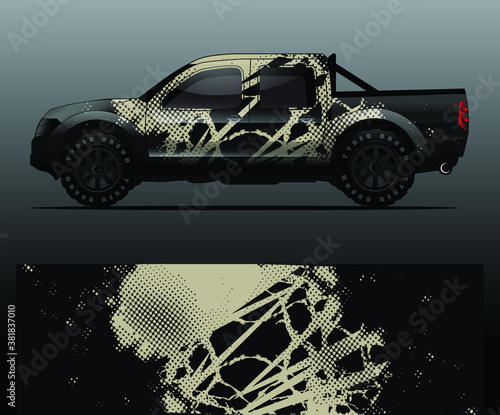 Truck decal graphic wrap vector, abstract background Wallpaper Mural