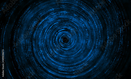 Business technology style circular wave point line background. Canvas Print