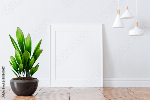 Fotografie, Obraz 3d interior with home plant and blank frames