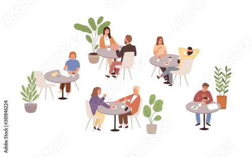 People sitting at tables in cafe or restaurant vector flat illustration. Man, woman and couple talking, eating, drinking and working at cafeteria isolated. Person spending time at public place