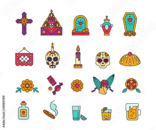 Fotografía Dia de Muertos - solid icons in bright colors