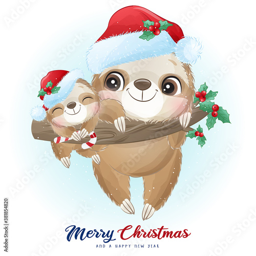 Naklejka premium Cute doodle sloth for christmas day with watercolor illustration