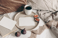 Fall Breakfast Still Life. Fig Fruit, Book And Cup Of Coffee On Ceramic Plate. Blank Greeting Cards Mockups, Linen Background. Velvet And Linen Pillows In Bed. Thanksgiving, Autumn Concept. Top View.