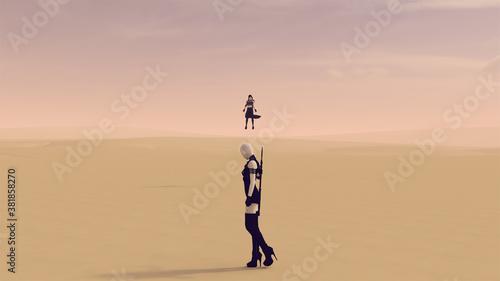 Fotografía Superhero and Super villain Face off in a Dusty Desert 3d illustration