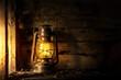 Antique lantern kerosene on an old overgrown wood