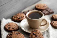 Coffee Cup With Cookies And Ch...