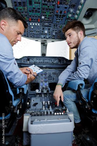 Valokuva inside of homemade flight simulator cockpit