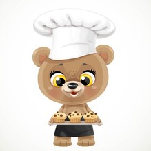 Cute Cartoon Baby Bear Chef With Muffins On A Tray Isolated On White Background
