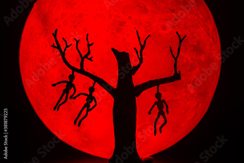 Fotografie, Obraz The silhouette of a tree standing dead with a man hanged dead to the bone