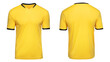 Sports football uniforms yellow shirt isolated on white background