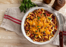 Bowl Of Chili Mac With Cheddar Cheese