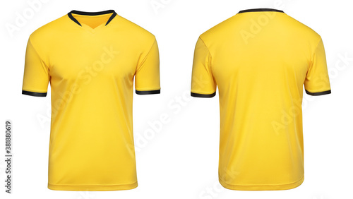Valokuvatapetti Sports football uniforms yellow shirt isolated on white background