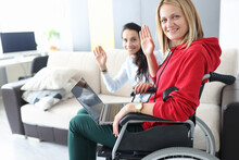 Young Disabled Woman In Wheelc...