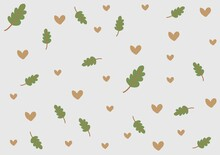 Cute Little Brown Hearts And Nature Pattern