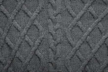 Knitted Wool Background. Grey Texture Knitted Wool Sweater