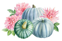 Pumpkins And Pink Flowers On A...