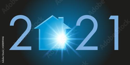 Obraz na plátně Carte de voeux montrant la silhouette d'une maison pour symboliser un projet de programme immobilier et l'acquisition d'un logement pour l'année 2021
