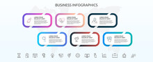 Infographics Rectangle With Six Steps, Icons. Vector Template Used For Diagram, Business, Web, Banner, Workflow Layout, Presentations, Info Graph, Timeline, Content, Levels, Chart, Processes Diagram