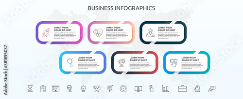 Canvas Infographics rectangle with six steps, icons