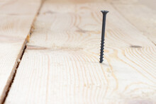 A Screw Screwed Into A Wooden Floor, Close-up.
