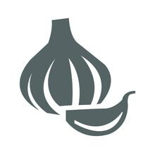 Garlic Icon On A White Backgro...