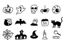 Halloween Hand Drawn Line Icons On White Background. Happy Halloween Design