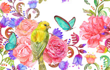 Seamless Texture Abstract Fancy Floral, Bouquet Of Pink Roses And Yellow Bird. Watercolor Painting