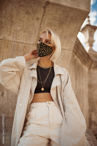 Outdoor fashion, lifestyle portrait of elegant woman wearing trendy outfit with Poster Mural XXL
