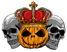Pumpkin With Crown Surrounded By Skulls Vector