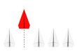 Leader Concept. Rof of White Origami Paper Airplanes with One Red. 3d Rendering
