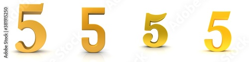 Fototapeta 5 five number golden 3d numeral sign set isolated on white background obraz
