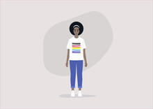 Young Black Character Wearing A T-shirt With An LGBTQ Flag With Brown And Black Stripes, BIPOC Community