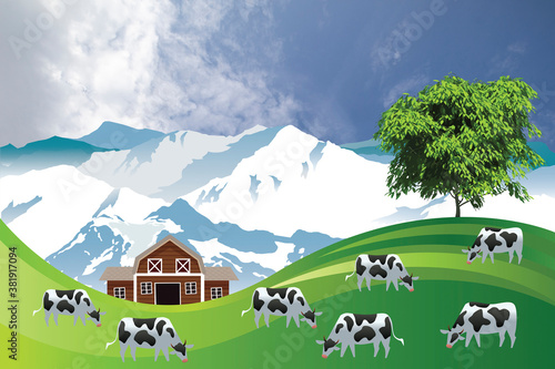 Fototapeta Picturesque rural scene with a herd of cows grazing on summer mountainous lowland pastures set against a cloudy blue sky obraz