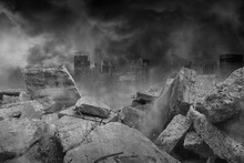 The Ruins Of Concrete And Brick Rubble In Front Of The Large City Building Are Covered With Smoke From The Civil War And The City Abandonment, Concept Of War