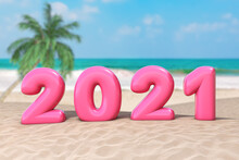 New Year Vacation Concept. Pink 2021 Happy New Year Sign On An Ocean Deserted Coast. 3d Rendering
