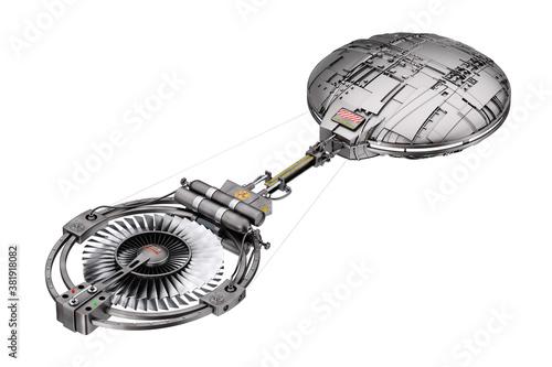 Photo Spaceship, Space Station or Alien UFO Spacecraft in Flight