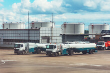Trucks With Trailers For Tanks With Aviation Fuel On The Territory Of Fuel Storage For Aircraft.