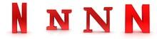N Letter Red 3d Sign Alphabet ...