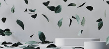 Cosmetic Background For Product Presentation. White Paper Podium And Falling Green Leaves On White Background. 3d Rendering Illustration. Clipping Path Of Each Element Included.