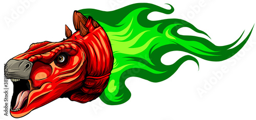 Vector Cartoon Dragon Head Isolated On White Background Wallpaper Mural