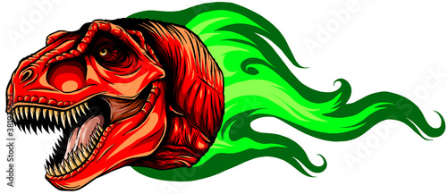 Fototapeta Vector Cartoon Dragon Head Isolated On White Background