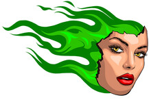 Girl Face On Fire Tattoo Logo ...
