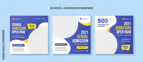 Fototapeta Set of school admission banners for social media post template obraz