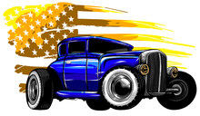 Illustration With Hot Rod On Grunge American Flag
