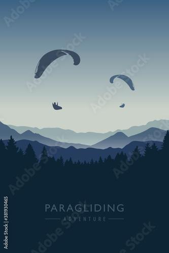 Obraz na plátně paragliding adventure on blue mountain background vector illustration EPS10