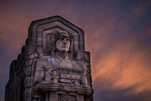 Guardian Of Traffic In Cleveland Ohio With A Fiery Sunset