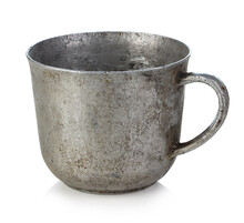 Antique Iron Cup Isolated On W...