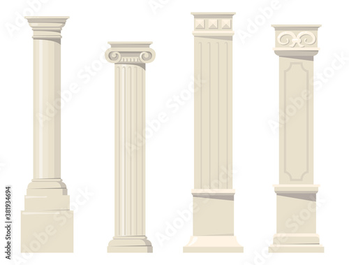 Vintage classic carved architectural pillars flat set for web design Canvas