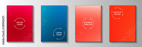Tablou Canvas Decorative circle perforated halftone front page templates vector collection